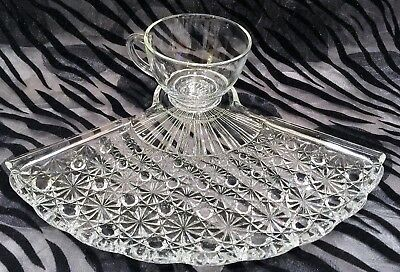 2 Anchor-Hocking Fan Clear Daisy & Button Fan Plates w/Clear Cups Snack Sets