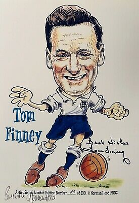 Sir Tom Finney HAND SIGNED England & Preston Legend Caricature Photograph COA