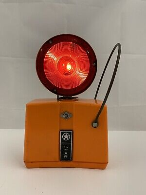 Vintage Working Star Traffic Blinking Warning Light Barricade Red/Yellow