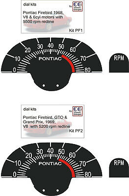 1968 on PONTIAC FIREBIRD GTO GRAND PRIX HOOD TACH GAUGE FACE REFRESH KIT