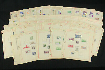 Old Time Album Pages WW Stamps US, China+ Ships, Trains, Maps, Bridges Mint+Used