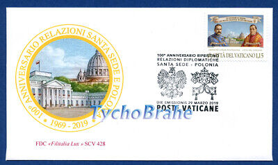 FDC DIPLOMATIC RELATIONS 2019 VATICAN JOINT Poland First Day Cover FILITALIA 428