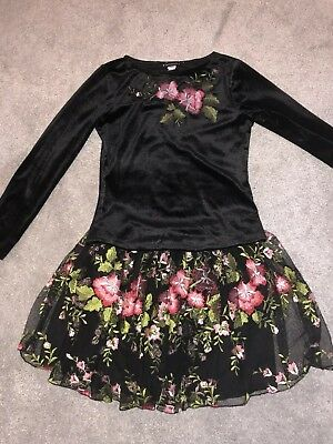 Ln Kate Mack Black Velvet & Tulle Flowery Midnight Garden Top & Skirt Set Age 10