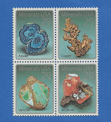 US 2700 - 03 Minerals Issue Block of 4 Stamps Mint Never Hinged 2700 - 2703