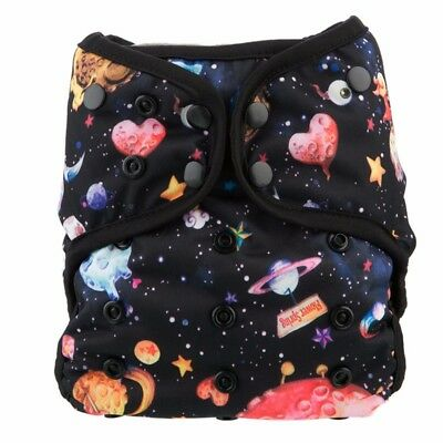 Reusable Waterproof AIO Suede Inside 2 Bamboo Inserts Cloth Diaper Double Gusset