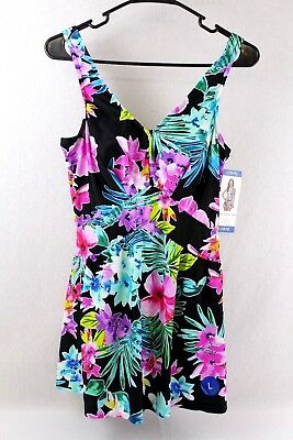 871553372a Rose Marie Reid Women's Large (10-12) Black/Floral Empire Swim Dress
