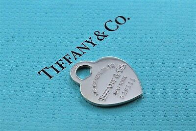 Return to Tiffany & Co. Sterling Silver LARGE ID Heart Tag Pendant Charm 029111