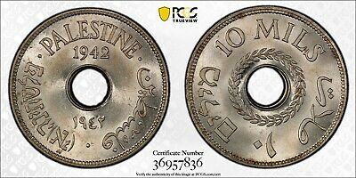 1942 10 Mils PCGS MS64 Coin Palestine - Israel - Very RARE High Grade!!!