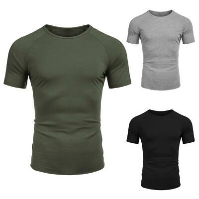 Men Fashion Fitness Round Neck Short Sleeve Quick Dry Solid T-Shirt WT88 01