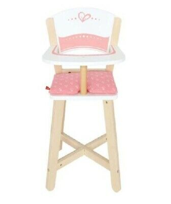 Brand New Hape Toys Dolls White Pink Wooden Highchair high chair Timber