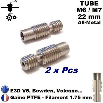 2x Tube M6/M7x22 sans PTFE Extrudeur V6 All Metal Heatbreak 1.75mm Imprimante 3D