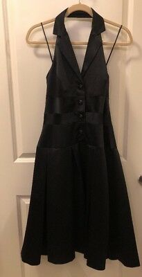 Women's Liz Claiborne Black Satin Tuxedo Collar Halter Dress Size 6  ($119.00)