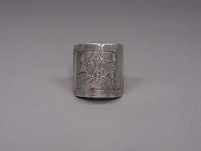 An Adjustable Antique Chinese Solid Silver Ring From Ming Dynasty -Lotus Pattern