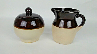 RRP Pottery Roseville Creamer and Sugar Bowl Brown over Cream