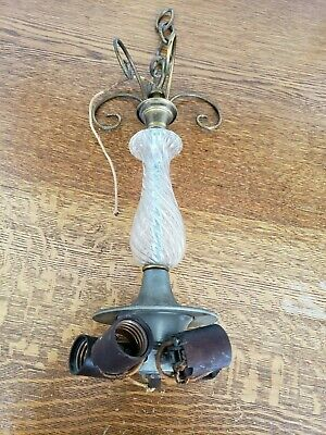 Antique Chandelier Electric Light Fixture Clear Glass Brass Lamp Vintage
