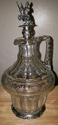 J.D. Schleissner 800 Silver Cut Glass Liquor Decanter/Water Carafe Knight Horse