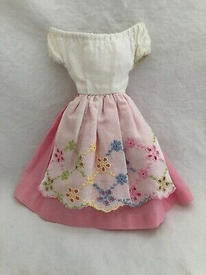 Vintage Doll Dress TAGGED Fashion Outfit 822 BARBIE IN SWITZERLAND Pink DRESS