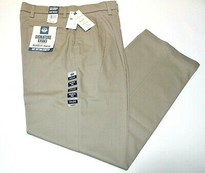 Dockers Best Pressed Pants Signature Khaki Relaxed Fit Stretch Pleated Black NWT
