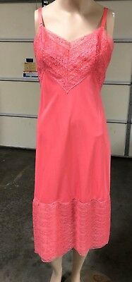 Mid Century New Hot Pink Lace Trimmed Full Slip