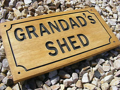 Wooden Shed House Door Plaque Engraved Grandad Papa Dad Uncle Sign Gift Idea Uk