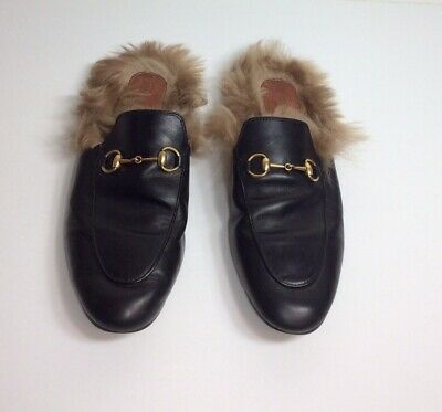 659a1eaf05a6 GUCCI PRINCETOWN GENUINE Shearling Loafer Mule Mens Black Size US 10 ...