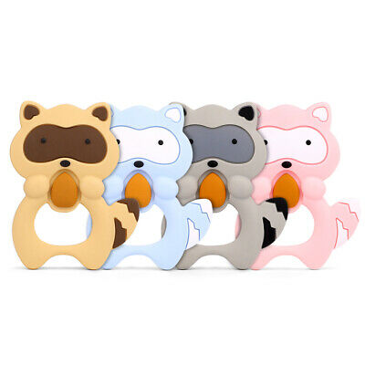 Infant Baby Teether Raccoon Silicone Pendant Teething Toy for Pacifier Chain