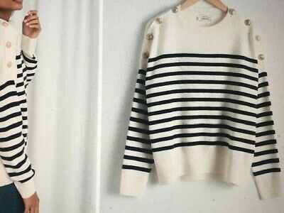 6b4a7e1e0f9 & OTHER STORIES Stripe Knit Sweater White Gold Toned Buttons Size S Wool
