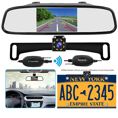 Wireless 5''Mirror Monitor+Nightvision License Plate Rear View Backup Camera Kit
