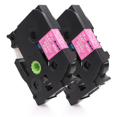 2 PK TZe-MQP35 Compatible for Brother P-Touch PT-D210 Label Tape Berry Pink 12mm
