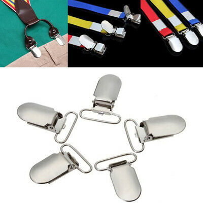 10Pcs Metal Suspender Clips Holders Garment Clamp Plastic Insert Pacifier Clips