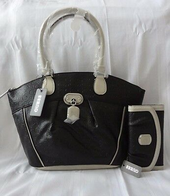 GUESS NEW NWT COLOGNE LOGO DOME SATCHEL HANDBAG PURSE WITH MATCHING WALLET
