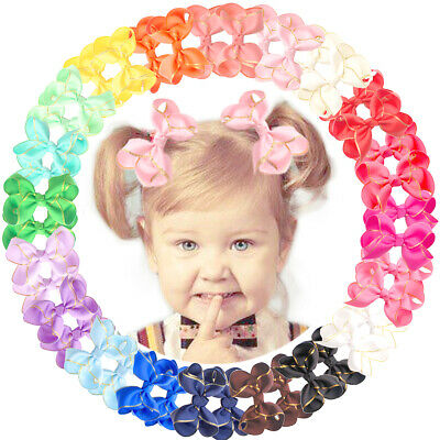 "40pcs Boutique Grosgrain Ribbon Gold Thread 3"" Hair Bow For Girls Toddlers Teens"