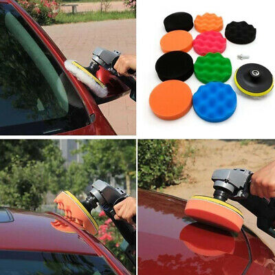"12Pcs 3/4/5/6/7"" Buffing Sponge Polishing Pad Kit Set For Car Polisher Buffer"