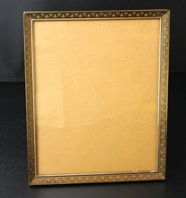 """vintage metal gold tone brass finish 8""""X10"""" picture frame standing wall hanging"""