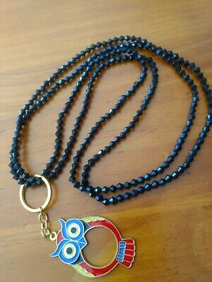 """""""Wise Owl"""" beaded lanyard. Made from black plastic bead necklace and keyring."""