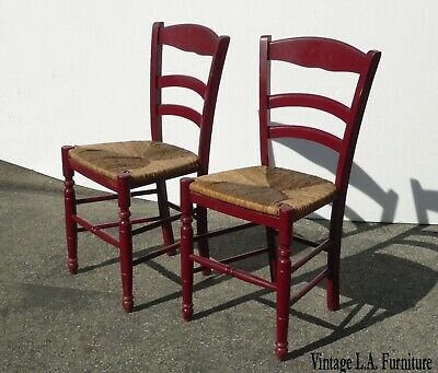 Pair of Vintage French Country Rush Seat Red Side Chairs