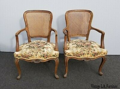 Pair Vintage French Provincial Country White Floral Cane Back Accent Chairs #1