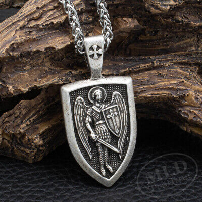"""Saint St Michael Medal Cross Shield Pendant Necklace & 24"""" Stainless Steel Chain"""