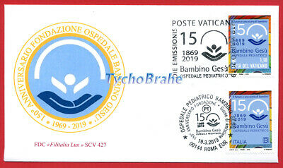 FDC 150° HOSPITAL BAMBIN GESÙ 2019 JOINT First Day Cover Vatican Italy FILITALIA