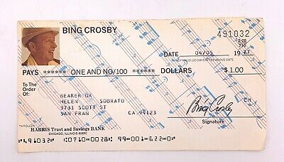 Bing Crosby Signed Check for $1.00 - Dated April 5 1977