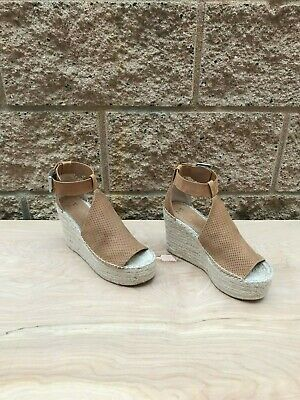 1d192e938e Marc Fisher LTD Annie Espadrille Wedge Sandal , Tan Perforated Leather ,  Size 7