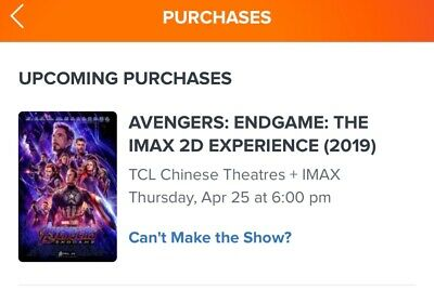 Avengers Endgame TCL Chinese Theater IMAX Tickets (3) @ 6pm