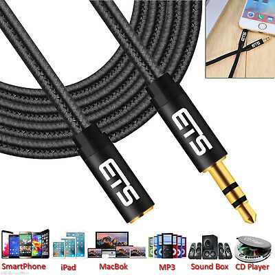 ®ETS 1M 3.5mm Jack Male To Female Extension AUX Audio Cable For Mobile/iPad/MP3