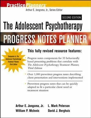 ADOLESCENT PSYCHOTHERAPY PROGRESS NOTES PLANNER By L. Mark Peterson *Excellent*