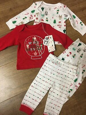 MOTHERCARE  boys /girls 2 festive pyjama sets 3-6 Months CHRISTMAS New