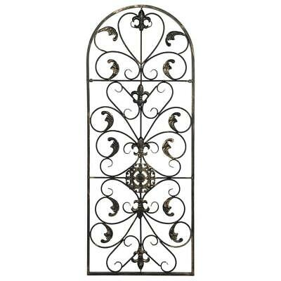 "Large Wrought Iron Metal Scroll Wall Grille Grill Art Plaque 41.5""H"
