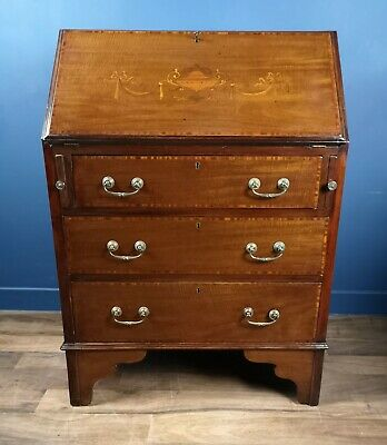 Antique / Victorian Mahogany Inlaid Writing Bureau Circa 1890 / Desk