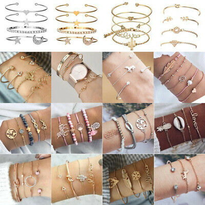 Women Fashion Charm Stainless Steel Lots Style Cuff Open Bracelet Bangle Chain