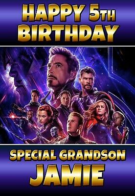 Avengers Birthday card End Game Personalised Any Text or age FREE P+P 02