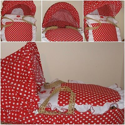 Moses Basket Dressing Covers Red White Polka Dot New Free P&P